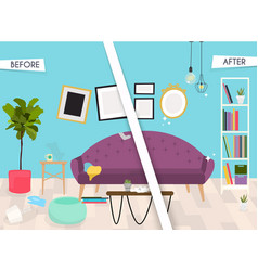 living room furniture before and after cleaning vector image