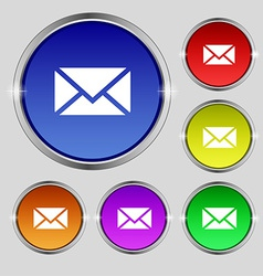 Mail Envelope Message icon sign Round symbol on vector image