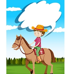 Man riding horse in the field vector image