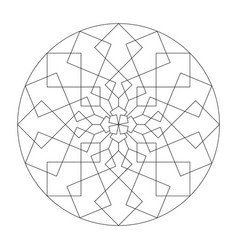 Mandala coloring page abstract and geometric vector