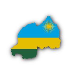 Map and flag of rwanda vector