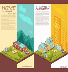 Mobile house vertical isometric banners vector