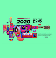 Music festival design for 2021 new year party vector
