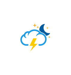 night weather and season logo icon design vector image