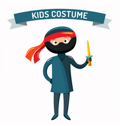 Ninja kid costume isolated vector