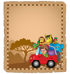 Parchment with car and traveller 2 vector