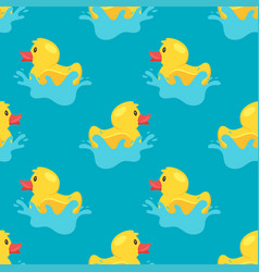 Pattern with yellow rubber duck vector
