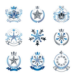 pentagonal stars emblems set heraldic coat of vector image