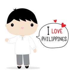philippines men national dress cartoon vector image