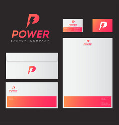 Power logo p letter with lightning energy style vector