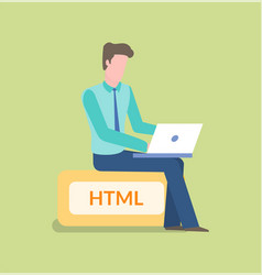 Programming male sitting on html sign working vector