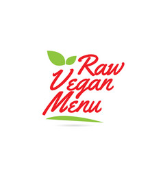 Raw vegan menu hand written word text for vector