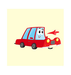 Red car character pointing to something with its vector