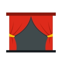 Red stage curtains icon flat style vector