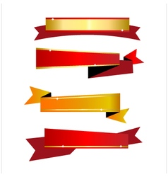 Ribbon gold and red vector