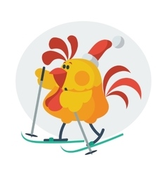Rooster bird skate on ski cock in santa s hat vector
