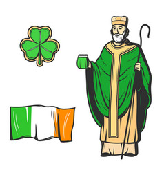 Saint patrick green clover leaf and ireland flag vector