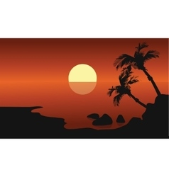 Scenery beach at sunset with sun vector