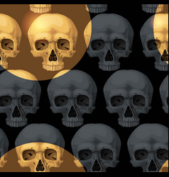 seamless pattern with black human skulls vector image