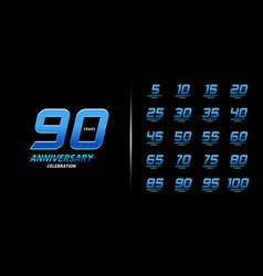 set trendy anniversary logotype modern vector image