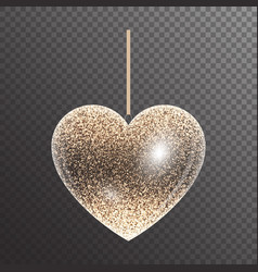 Shiny heart with sparkles vector