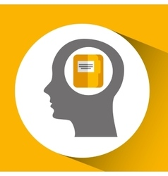 Silhouette head with folder file archive icon vector