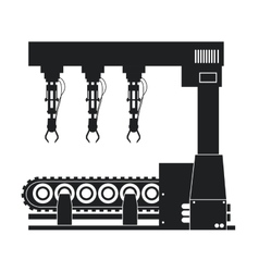 silhouette robotic production line machinery vector image vector image