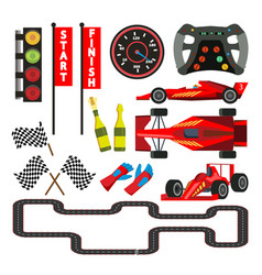sport car racing icons set speedometer vector image
