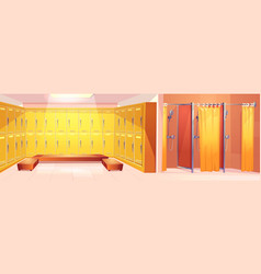 Sport club lockers room carton interior vector