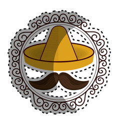 Sticker vintage border with hat and moustache vector