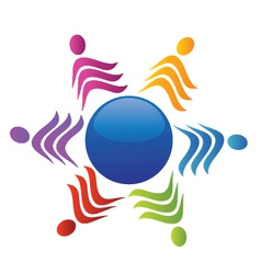 Teamwork social people logo vector image