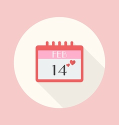Valentines Day Calendar flat icon vector image