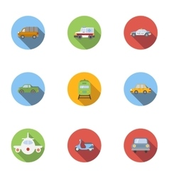 Variety transport icons set flat style vector