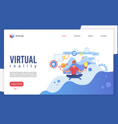 virtual reality landing page template vector image