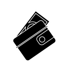 wallet dollar money cash pictogram vector image