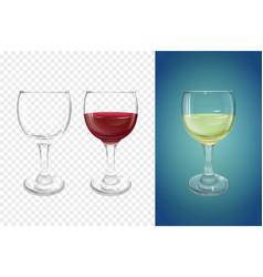 Wine glass realistic crockery vector