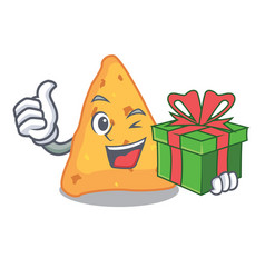 With gift nachos mascot cartoon style vector