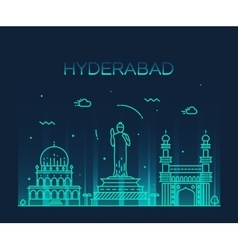 Hyderabad skyline linear vector image vector image