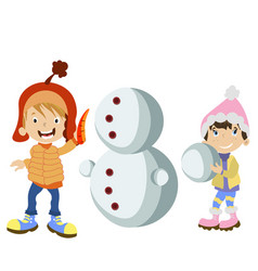 kids making snowman vector image