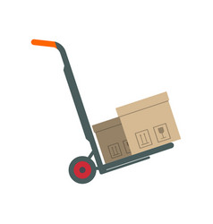packing boxes on hand truck in flat design vector image