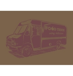 Painted pink food truck on a brown background vector image