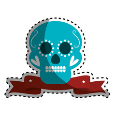 sticker decorative ornamental sugar skull with vector image vector image
