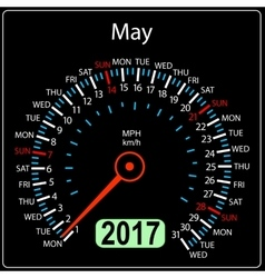 year 2017 calendar speedometer car in May vector image vector image