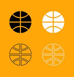 basketball ball set black and white icon vector image vector image