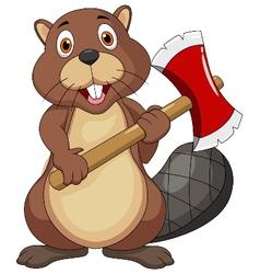 Beaver cartoon holding axe vector image