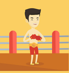 confident boxer in the ring vector image vector image