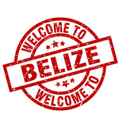 Welcome to belize red stamp vector