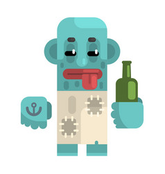 drunk alcoholic with blue skin holding wine bottle vector image