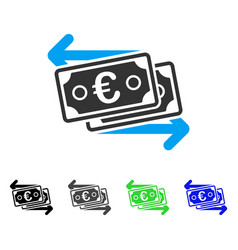 Euro banknotes change flat icon vector