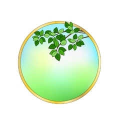 Round frame with leaves vector image